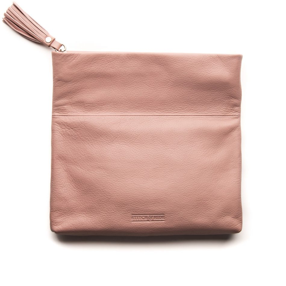 Stitch & Hide Lily Clutch-Dusty Rose-Open